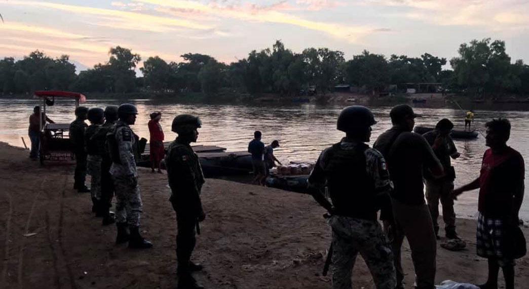 Guardia Nacional realiza primer despliegue masivo en el río Suchiate