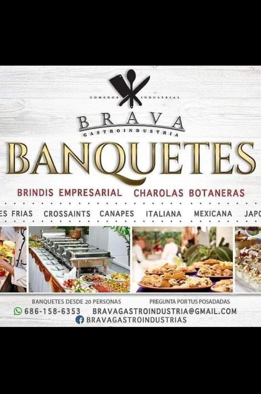 Brava Gastroindustria, se promueve como empresa de servicio para banquetes.