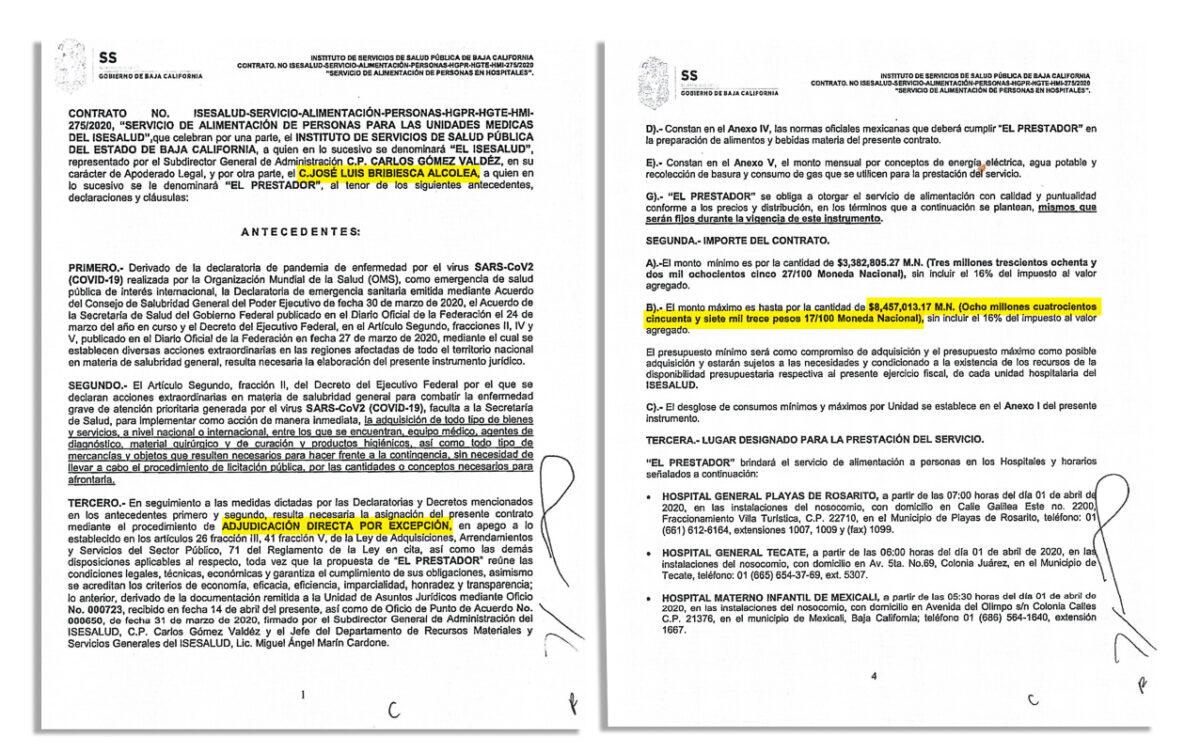Contrato asignado a funcionario de Oficialía Mayor de Baja California.